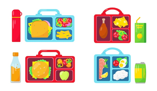 Set of lunch boxes with food and drinks on white background