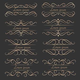 Set of luxurious decorative calligraphic elements.