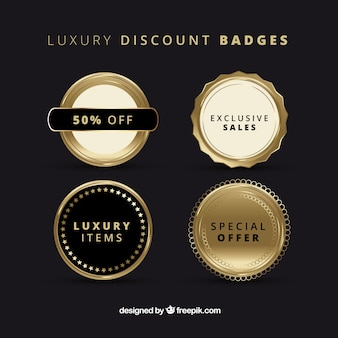 Set of luxurious golden sale badges