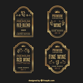 Set of luxurious wine labels