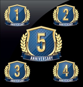 Set of luxury anniversary badges