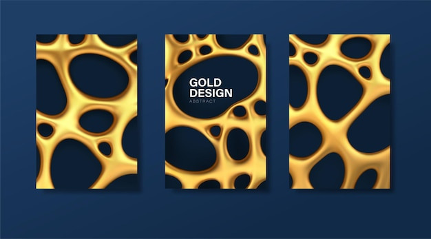 Set of luxury banners with abstract golden organic irregular mesh with holes.