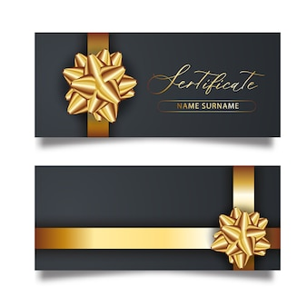 Set of luxury black cards with gold gift bows with ribbons