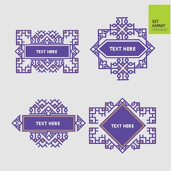 Set luxury border aztec and japanese ornament template
