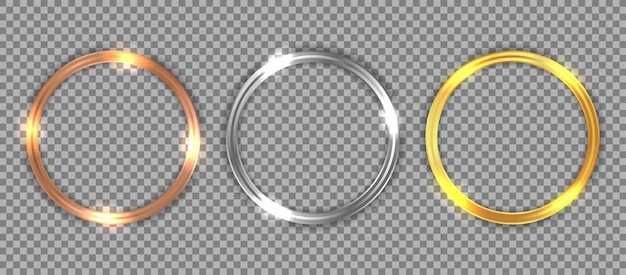 Set of luxury bronze, silver, and gold circle frame