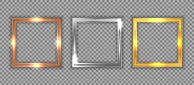 Set of luxury bronze, silver, and gold square frame