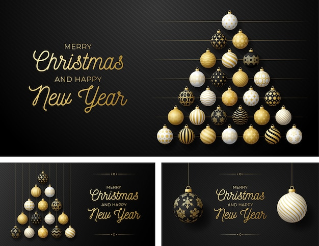 Set of luxury christmas and new year horizontal greeting card with tree made by balls. christmas card with ornate black, golden and white realistic balls on black modern background  illustration