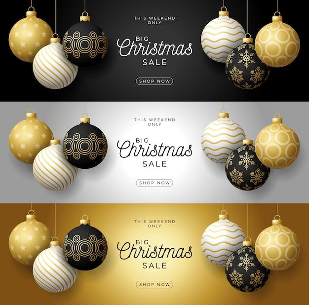 Установите горизонтальный баннер роскошные рождественские продажи. реалистичные фенечки.