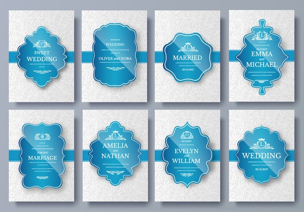 Set of luxury colors artistic pages set with logo brochure template. vintage art identity, floral.