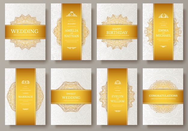 Set of luxury colors artistic pages set with logo brochure template