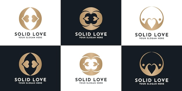 Set of luxury creative love logo design