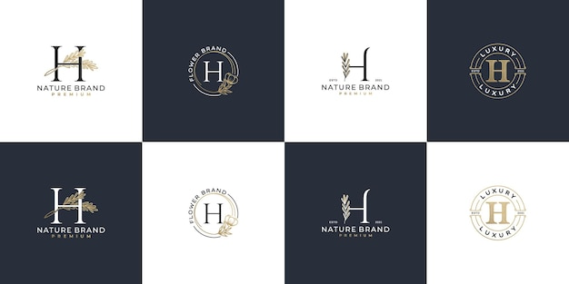 Set of luxury feminine initial letter h logo template