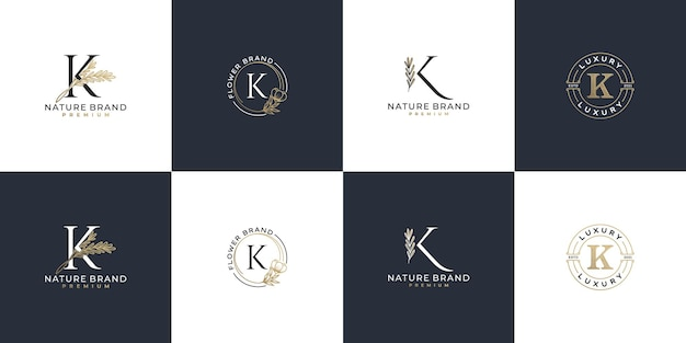 Set of luxury feminine initial letter k logo template