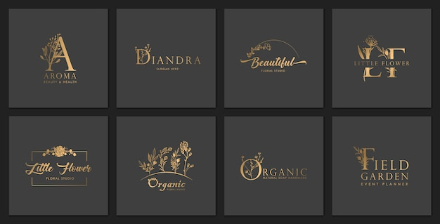 Set of luxury floral logos, wedding branding with flower elements.