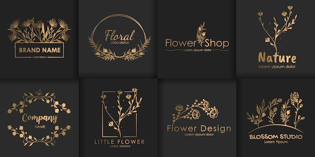 Set of luxury floral logos.
