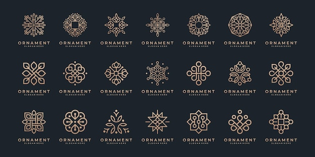 Set of luxury floral ornament with line art element.