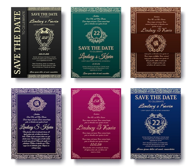 Set of luxury flyer pages with logo ornament