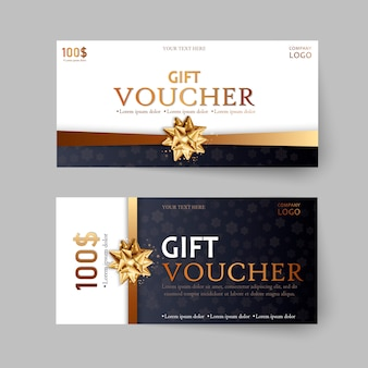 Set of luxury gift vouchers with ribbons and bow