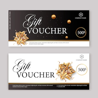 Set of luxury gift vouchers with ribbons and gift box. elegant template for a festive gift card