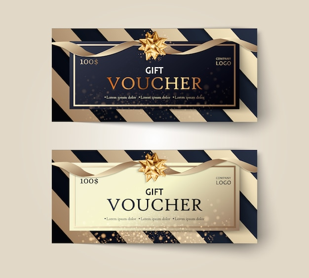 Set of luxury gift vouchers with ribbons and gift box.