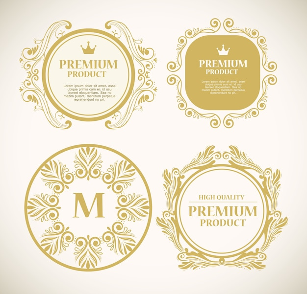Set of luxury gold decoration labels