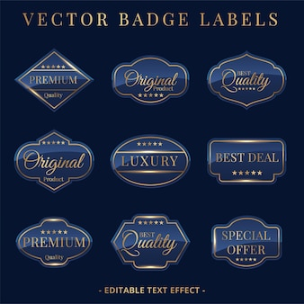 Set of luxury golden badges and stickers