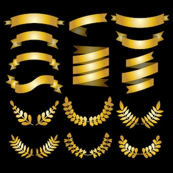 Set of luxury golden laurels, wreathes and ribbons.