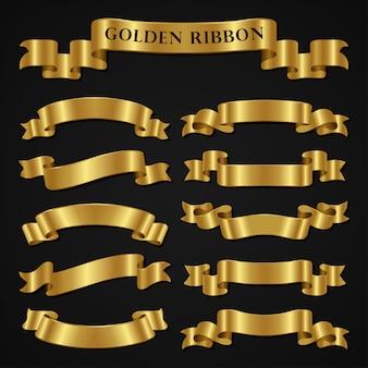 Set of luxury golden ribbons