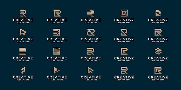 Set of luxury initial r abstract monogram logo design.