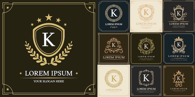 Set of luxury logo template, initial letter type k