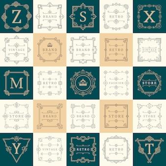 Set luxury logos template flourishes calligraphic elegant ornament lines. business sign, symbol, identity.
