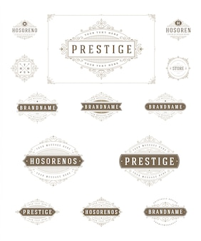 Set luxury logos template flourishes calligraphic elegant ornament lines illustration.