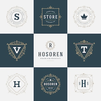 Set luxury logos template flourishes calligraphic elegant ornament lines.