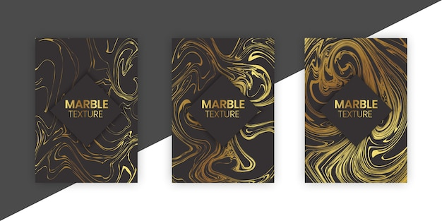 Set luxury marble with golden texture background