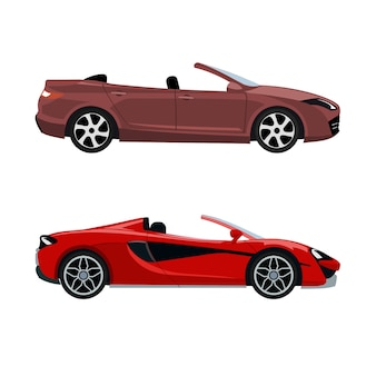 Set of luxury modern convertible cars