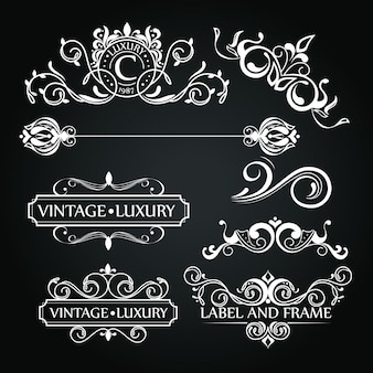 Set of luxury ornaments for label or logo