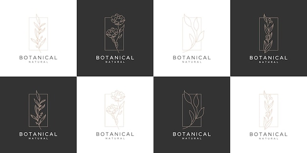 Set of luxury rose botanical logo template