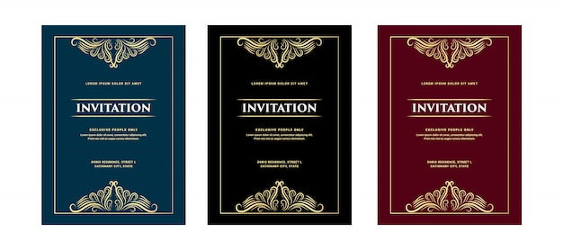 Set of luxury royal antique retro style invitation and greeting card for vip entry birthday party pass wedding anniversary and celebration
