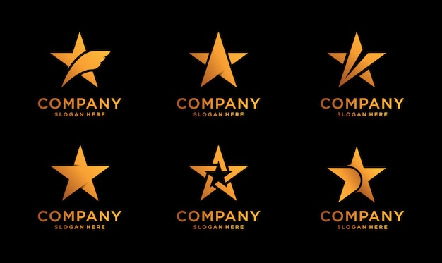 Set of luxury stars logo design