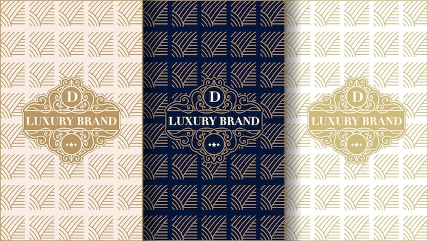Set of luxury vintage labels with logo and frame for product packaging of product box and cove