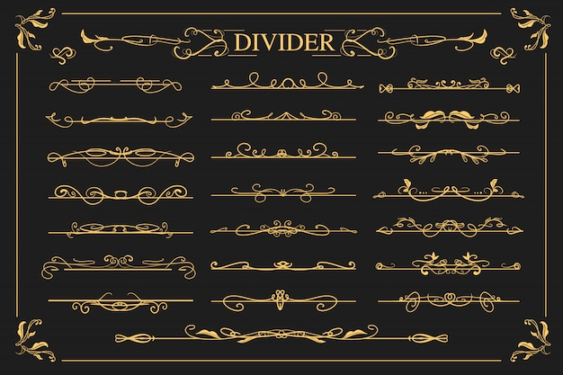 Set of luxury vintage ornamental dividers with swirl and flower design for wedding invitation.