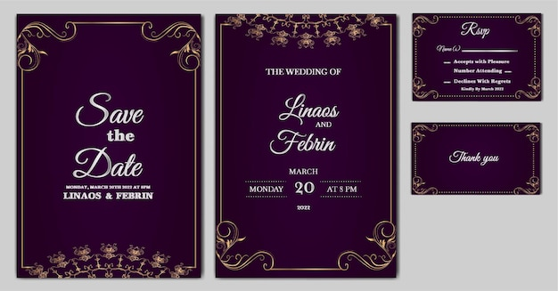 Set of luxury wedding invitation card template