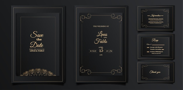Set of luxury wedding invitation cards