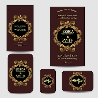 Set of luxury wedding invitation