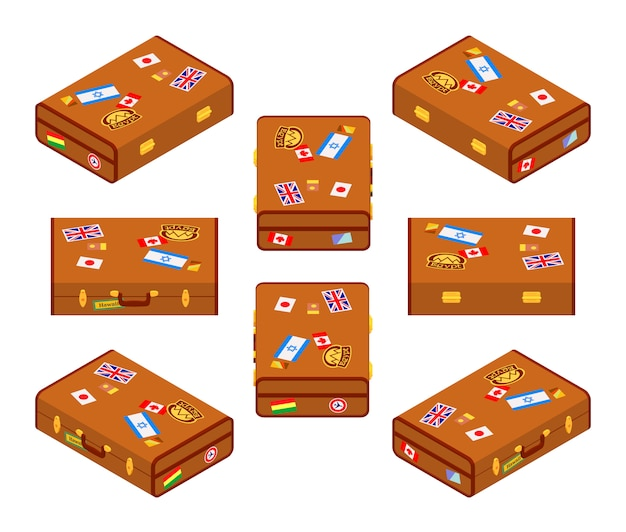 Set of lying brown travelers suitcases with the stickers