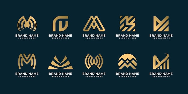 Set of m logo collection with gradient golden