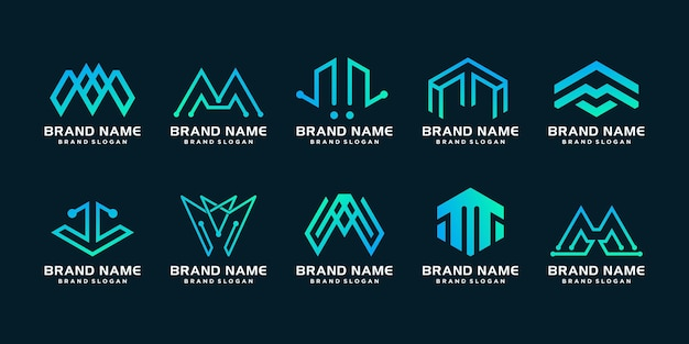 Set of m logo collection with modern creative premium vector