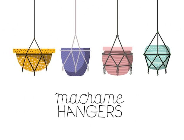 Set of macrame pots hangers