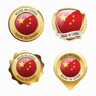Set of made in china badges