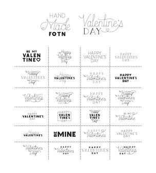 Set made fonts happy valentines day